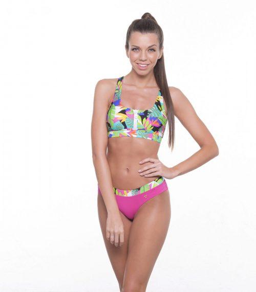Dámske plavky ZOE LEAVES PINK značky Poppy Lingerie.