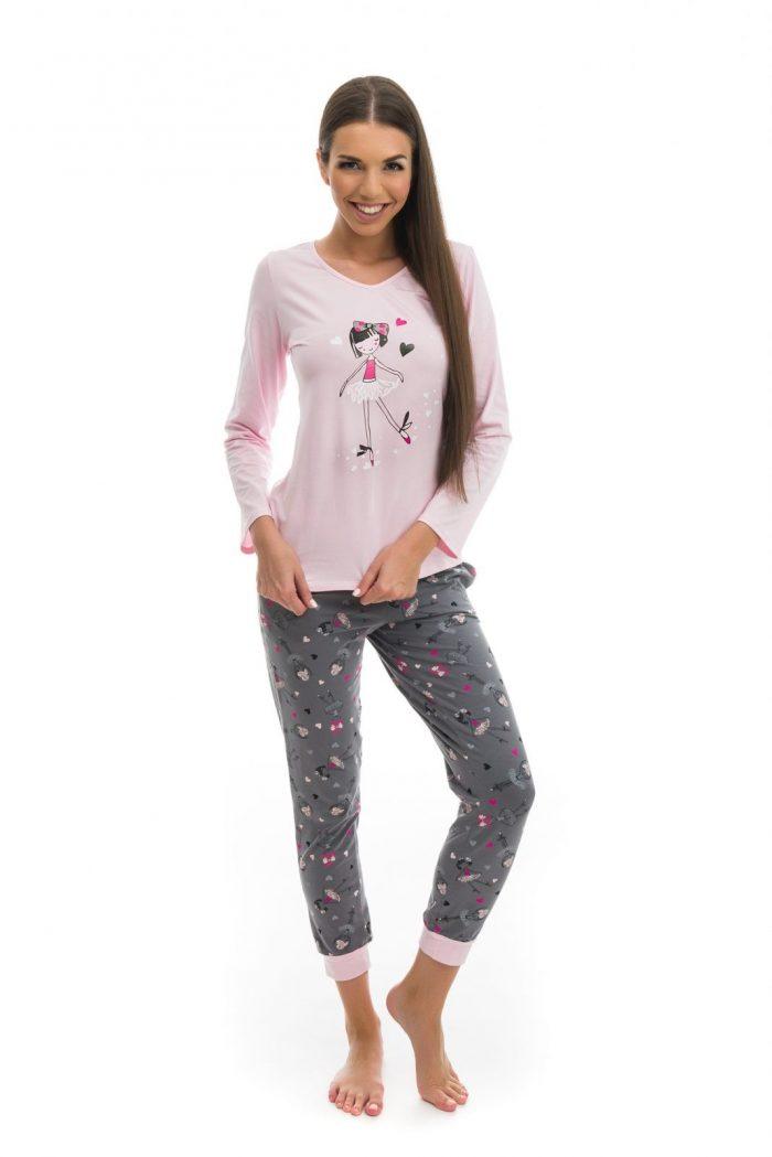 Dámske pyžamo značky Poppy s potlačou baleríny.