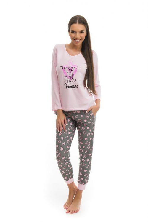 Dámske pyžamo značky Poppy s potlačou srdiečok.