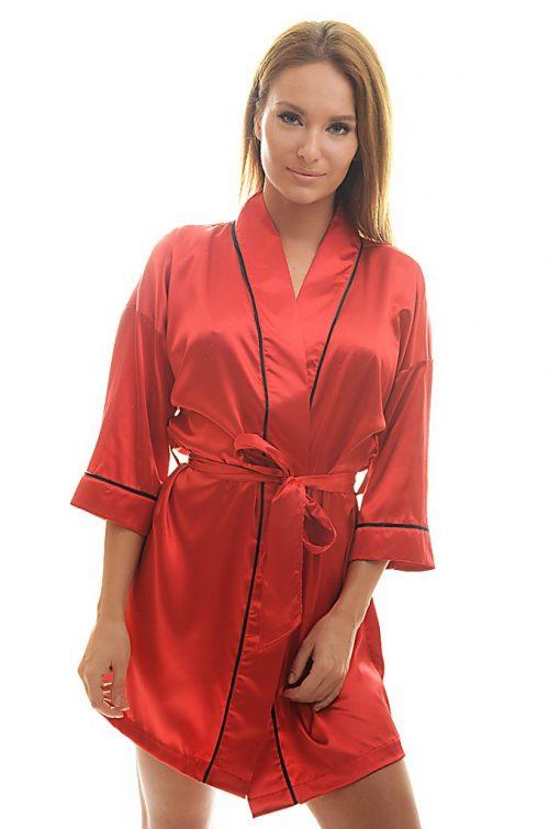 Dámske červené saténové kimono značky Poppy.