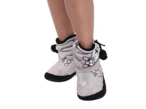 Dámske vysoké papuče FRENCH DOG pattern